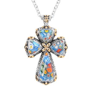 Murano Millefiori Glass ION Plated YG and Stainless Steel Cross Pendant With Chain (20 in)