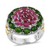 Niassa Ruby, Russian Diopside 14K YG and Platinum Over Sterling Silver Ring (Size 7.0) TGW 7.480 cts.