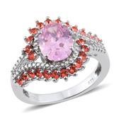 KARIS Collection - Simulated Pink Diamond Ring in Platinum Bond Brass (Size 8.0) Made with SWAROVSKI Papaya Crystal TGW 5.250 cts.
