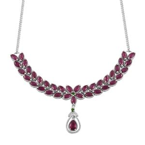 Niassa Ruby, Russian Diopside Platinum Over Sterling Silver Princess Drop Necklace (18 in) TGW 15.04 Cts.