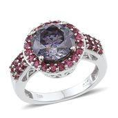Strontium Titanate, Mahenge Pink Spinel Platinum Over Sterling Silver Ring (Size 7.0) TGW 7.060 cts.