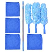Blue and Blue Microfiber 8pcs Dusting Kit Set