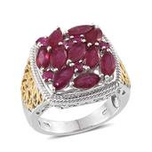 Niassa Ruby 14K YG and Platinum Over Sterling Silver Openwork Cluster Ring (Size 6.0) TGW 5.970 cts.