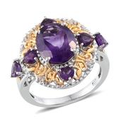 Lusaka Amethyst, White Topaz 14K YG and Platinum Over Sterling Silver Ring (Size 6.0) TGW 6.060 cts.
