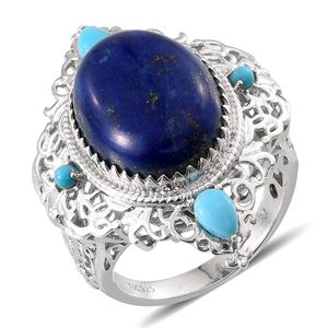 Royal Jaipur Lapis Lazuli, Arizona Sleeping Beauty Turquoise, Ruby Platinum Over Sterling Silver Ring (Size 6.0) TGW 16.253 cts.