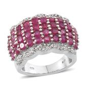 Niassa Ruby, White Topaz Platinum Over Sterling Silver Wide Cluster Ring (Size 7.0) TGW 7.100 cts.
