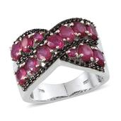 Niassa Ruby, Thai Black Spinel Platinum Over Sterling Silver Criss Cross Ring (Size 9.0) TGW 6.290 cts.