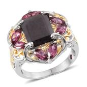 Royal Jaipur Natural Silver Sapphire, Orissa Rhodolite Garnet, Ruby 14K YG and Platinum Over Sterling Silver Ring (Size 11.0) TGW 8.980 cts.