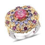 Pure Pink Mystic Topaz, Multi Gemstone 14K YG Over and Sterling Silver Ring (Size 6.0) TGW 6.73 cts.