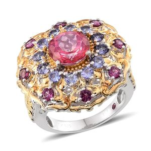 Pure Pink Mystic Topaz, Multi Gemstone 14K YG Over and Sterling Silver Ring (Size 7.0) TGW 6.730 cts.
