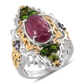 Royal Jaipur Ruby, Russian Diopside, Tanzanite 14K YG and Platinum Over Sterling Silver Openwork Elongated Ring (Size 5.0) TGW 10.710 cts.