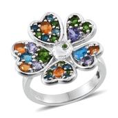 GP Multi Gemstone Platinum Over Sterling Silver Flower Ring (Size 9.0) TGW 2.612 cts.