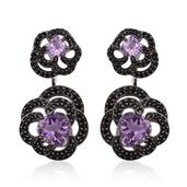 GP Rose De France Amethyst, Multi Gemstone Platinum Over Sterling Silver Ear Jacket Earrings TGW 6.72 cts.
