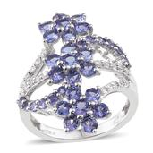 Tanzanite, White Zircon Platinum Over Sterling Silver Openwork Elongated Floral Ring (Size 10.0) TGW 3.70 cts.