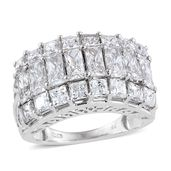J Francis - Platinum Over Sterling Silver Ring Made with SWAROVSKI ZIRCONIA (Size 8.0) TGW 9.450 cts.