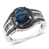 Belgian Teal Fluorite, Electric Blue Topaz, Black Diamond Platinum Over Sterling Silver Graceful Swirl Ring (Size 8.0) TGW 5.25 cts.