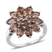 Jenipapo Andalusite Platinum Over Sterling Silver Flower Ring (Size 10.0) TGW 4.960 cts.
