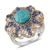 Royal Jaipur Sonoran Blue Turquoise, Catalina Iolite, Ruby 14K YG Over and Sterling Silver Ring (Size 6.0) TGW 5.78 cts.
