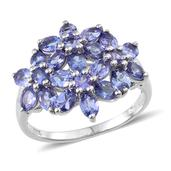 Tanzanite Platinum Over Sterling Silver Floral Ring (Size 9.0) TGW 3.89 cts.