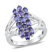 Tanzanite (3A) Platinum Over Sterling Silver Ring (Size 9.0) TGW 2.750 cts.