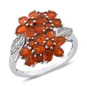 Jalisco Fire Opal, White Topaz Platinum Over Sterling Silver Floral Ring (Size 8.0) TGW 2.220 cts.