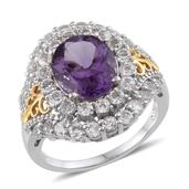 Bahia Amethyst, White Topaz 14K YG and Platinum Over Sterling Silver Eye Catching Ring (Size 8.0) TGW 7.670 cts.