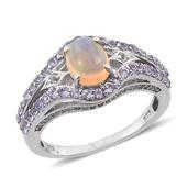 Ethiopian Welo Opal, Tanzanite, White Topaz Platinum Over Sterling Silver Ring (Size 8.0) TGW 1.850 cts.