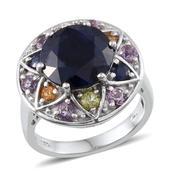 Kanchanaburi Blue Sapphire, Multi Gemstone Platinum Over Sterling Silver Ring (Size 5.0) TGW 9.090 cts.