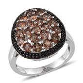 Jenipapo Andalusite, Thai Black Spinel Radiant Cluster Platinum Over Sterling Silver Ring (Size 7.0) TGW 2.850 cts.