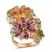 Stefy Multi Gemstone 14K YG Over Sterling Silver Ring (Size 6.0) TGW 6.820 cts.