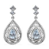Espirito Santo Aquamarine Platinum Over Sterling Silver Drop Earrings TGW 1.40 cts.