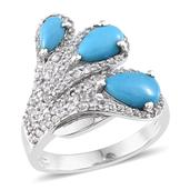 Arizona Sleeping Beauty Turquoise, White Topaz Platinum Over Sterling Silver Stunning Ring (Size 8.0) TGW 3.230 cts.