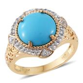 Arizona Sleeping Beauty Turquoise, White Topaz 14K YG Over Sterling Silver Ring (Size 7.0) TGW 4.96 cts.