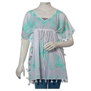 Seafoam Aari Embroidery 100% Cotton V- Neck Tunic Top With Tassel (One Size Fits All)