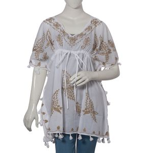 Khaki Aari Embroidery 100% Cotton V- Neck Tunic Top With Tassel (One Size Fits All)