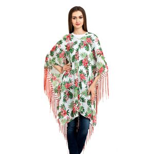 White, Green and Red Floral Print 100% Cotton V- Neck Poncho with Fringe