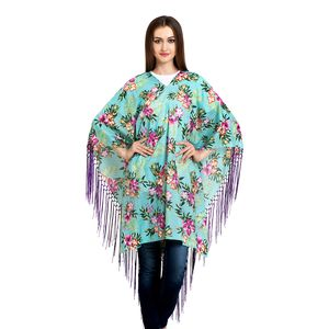 Green Floral Print 100% Cotton V-Neck Poncho with Fringe