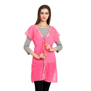 Hot Pink 100% Polyester Open Sequins Beach Cover Up
