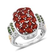 Jalisco Cherry Fire Opal, Russian Diopside, Diamond 14K YG and Platinum Over Sterling Silver Cluster Ring (Size 5.0) TDiaWt 0.05 cts, TGW 2.670 cts.