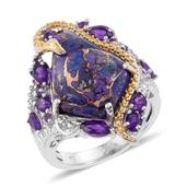 Mojave Purple Turquoise, Amethyst 14K YG and Platinum Over Sterling Silver Ring (Size 10.0) TGW 12.850 cts.