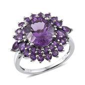 Bahia Amethyst, Lusaka Amethyst Platinum Over Sterling Silver Glitzy Ring (Size 7.0) TGW 6.645 cts.