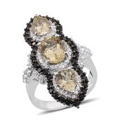 Marialite, Thai Black Spinel, White Topaz Platinum Over Sterling Silver Ring (Size 7.0) TGW 7.16 cts.