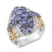 Tanzanite, White Zircon 14K YG and Platinum Over Sterling Silver Ring (Size 7.0) TGW 4.130 cts.