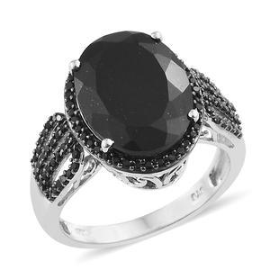 Australian Black Tourmaline, Thai Black Spinel Platinum Over Streling Silver Ring (Size 8.0) TGW 11.22 cts.