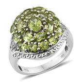 Hebei Peridot, White Topaz Platinum Over Sterling Silver Cluster Ring (Size 9.0) TGW 4.480 cts.