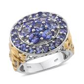 Tanzanite 14K YG and Platinum Over Sterling Silver Openwork Cluster Ring (Size 7.0) TGW 4.00 cts.