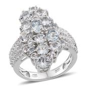 Espirito Santo Aquamarine, White Topaz Platinum Over Straling Silver Elongated Cluster Ring (Size 5.0) TGW 5.140 cts.