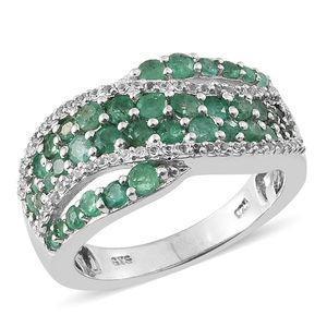 Deepak's Dazzling Deals Kagem Zambian Emerald, Cambodian Zircon Platinum Over Sterling Silver Criss Croos Ring (Size 7.0) TGW 1.85 cts.