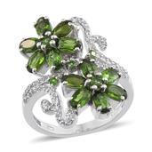 Russian Diopside, White Topaz Platinum Over Sterling Silver Floral Ring (Size 6.0) TGW 4.120 cts.