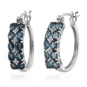 Teal Kyanite, White Zircon Platinum Over Sterling Silver Hoop Earrings TGW 4.300 cts.